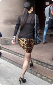 街拍丝袜,透视装豹纹短裙